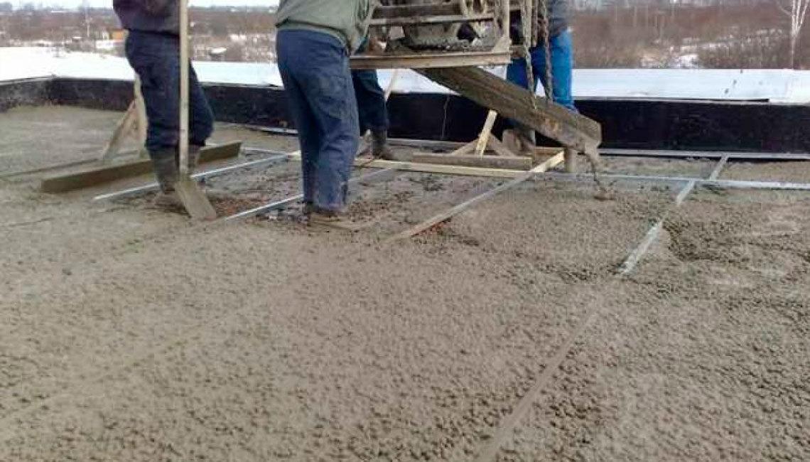 Устройство уклона из керамзито-бетонной стяжки